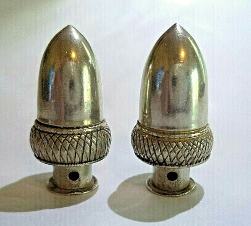 Victorian Acorn Figural Knitting Needle Guards, Sterling Silver, 19th Century