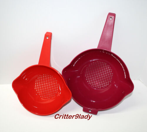 NEW Tupperware Lot of 2 Classic Strainers in 2 sizes Vineyard & Chili Red