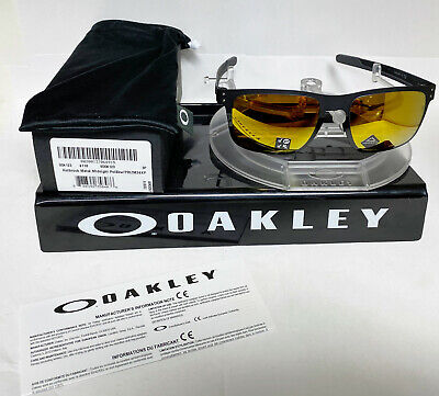 OAKLEY HOLBROOK SUNGLASSES METAL MIDNIGHT BLACK/PRIZM 24K POLARIZED OO4123-2055