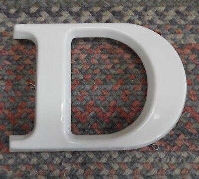 Vtg  White Plastic Hanging Letter D Store Sign Spell Out Alphabet 8 3 4  Capital