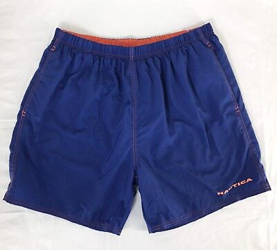 Nautica Blue Swim Trunks Spell Out Board Shorts Light Weight Nylon Mens Size XL ()