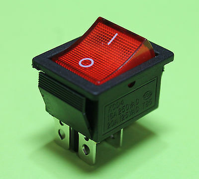 Red Light On off AC Rocker Switch 250V 15 AMP 125V 20A DPST 4 lug terminals USA