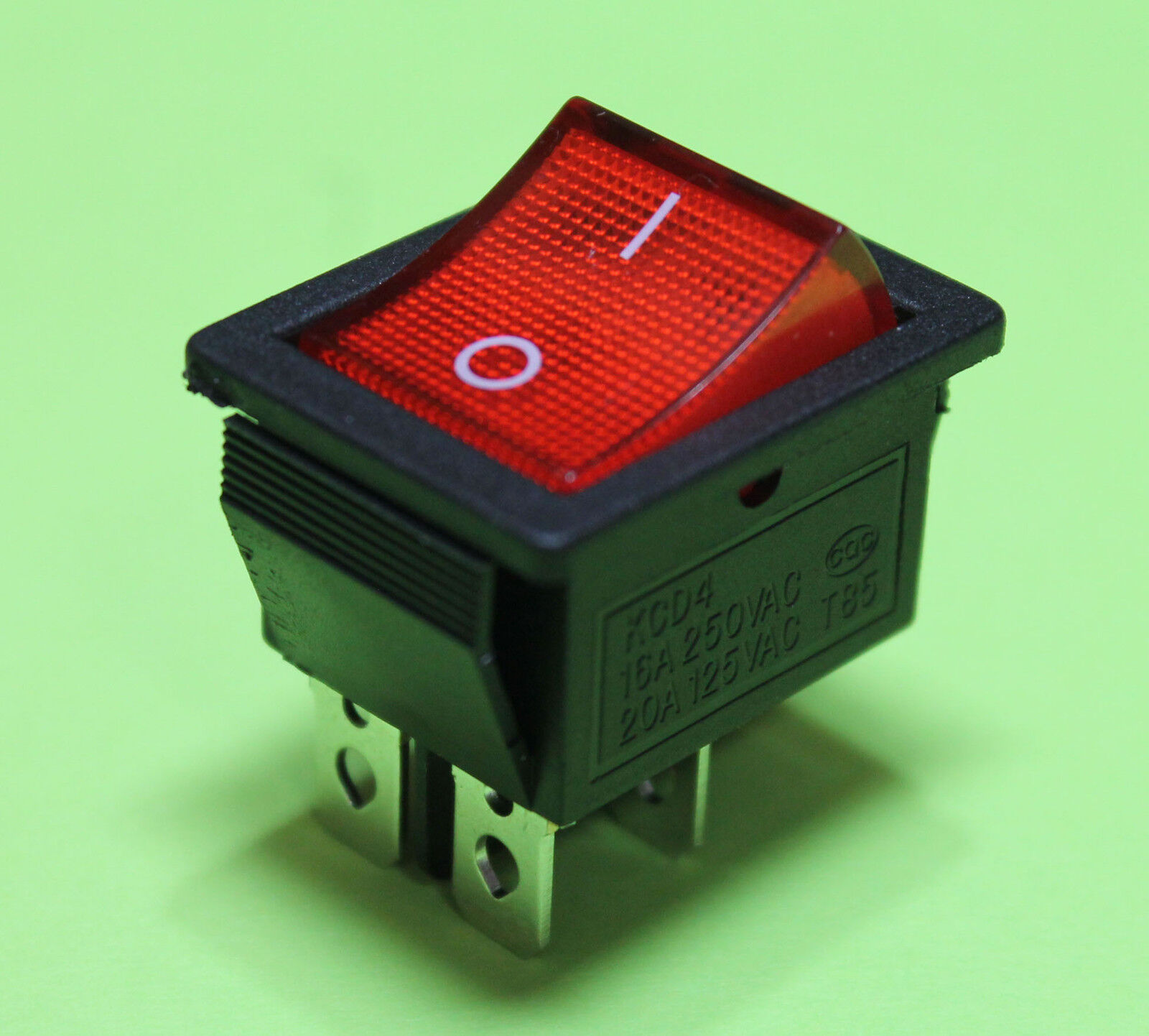 Red Light On Off Ac Rocker Switch 250v 16 Amp 125v 20a Dpst 4 Lug 4xblack Push Button Circuit Momentary 3a Car Dash Terminals
