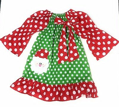 SALE Girl's Santa Christmas Dress Ruffled Bow Boutique Outfit Clothing Red Green