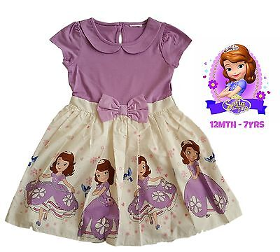 Kids Party Outfit (Girls Dress Kids Baby Party Summer Outfit Purple Disney Princess Sofia)