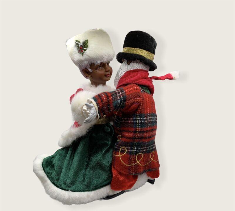 Darling Mr & Mrs Santa Claus Dancing Skating African American Avon Colorful