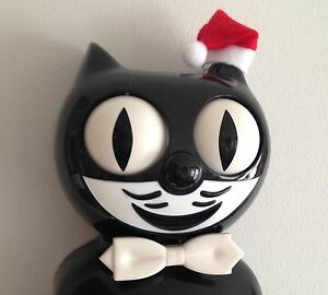 Classic Black Kit Cat Clock With Removable Christmas Santa Hat, UK Seller!