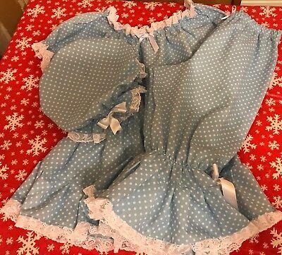 Baby blue fancy dress Victorian bathing Bella spotty bloomers and mop - Bella Cotton Kostüm