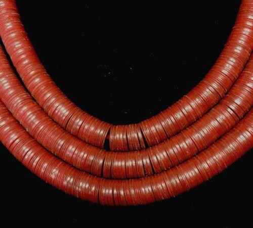 Strand of Red Heishi Vinyl Trade Beads Ghana Africa 36 Inch.