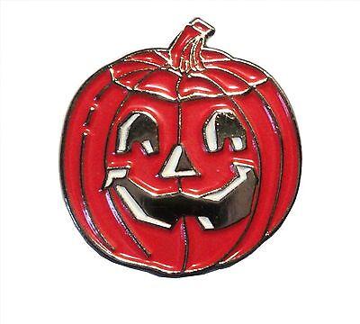 Spooky Halloween Carved Pumpkin Metal Enamel Trick or Treat Badge Brooch NEW