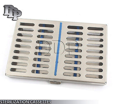 Dental Instrument Autoclave Sterilization Cassette Tray Racks Box Hold 10 Pcs