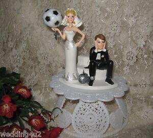 Wedding Reception Sport Soccer Ball Ball Chain Cake Topper Sassy Bride