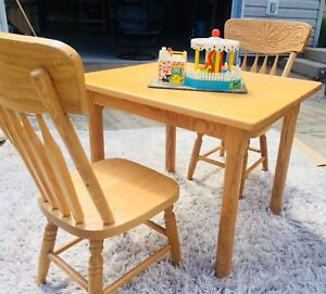 Solid Oak Custom Built Child's Multi-Use Table & Chairs
