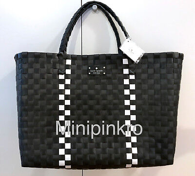 Kate Spade Woven Vinyl Black & White Large Tote Shopping Beach Bag (White Woven Bag)