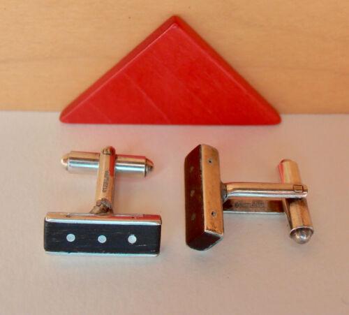 "Ed Levin Jewelry Sterling Silver Ebony Dot-Dash Vintage Cuff Links @ 3/4"""