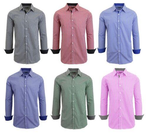 Mens Long Sleeve Button Down Slim Fit Dress Shirt - Gingham Checkered Plaid NEW