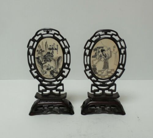 GREAT PAIR 19TH C. ANTIQUE CHINESE HAND CARVED PEN & INK MINIATURE TABLE SCREENS