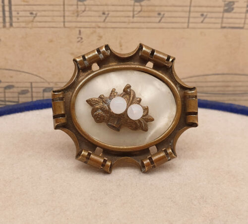 Antique Edwardian Mother of Pearl and Glass Pearl Brooch with Trombone Clasp