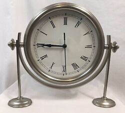 Pottery Barn Large Desk, Mantel Clock with Stand, Brushed Nickel