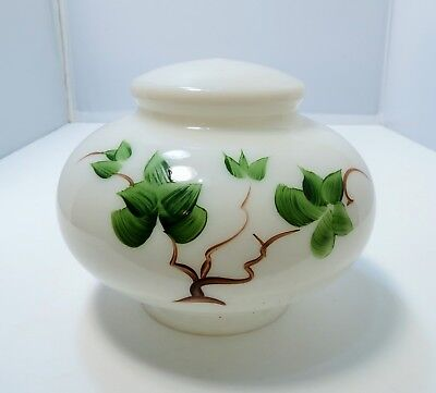 Vintage Hand-painted White Milk Glass Lantern Globe - Bonsai style Theme