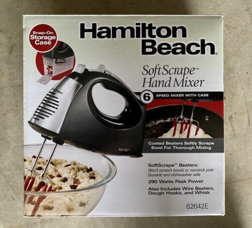 HAMILTON BEACH SOFT SCRAPE HAND MIXER 6-Speed w/Case Model 6