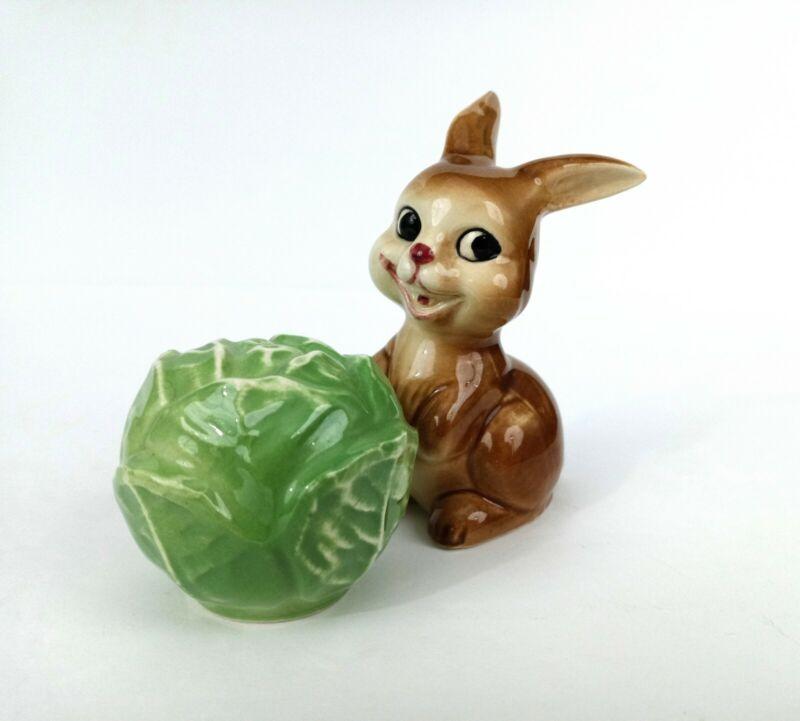 Goebel Figural Salt & Pepper Shakers Rabbit & Cabbage Ceramic W. Germany