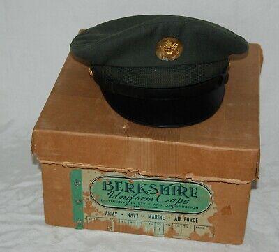 1950s Hats: Pillbox, Fascinator, Wedding, Sun Hats Vintage 1950s US Army Cap Service Wool Dress Green Hat Size 7 1/4 with Box $34.99 AT vintagedancer.com