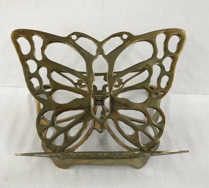 Brass BUTTERFLY DISPLAY BOOK HOLDER Stand Bible or Cookbook Display Holder
