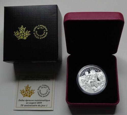2019 Canada 75th Anniv. of D-Day Proof Silver Dollar - Box & COA