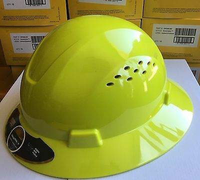 Hdpe Lime Full Brim Hard Hat With Fas-trac Suspension