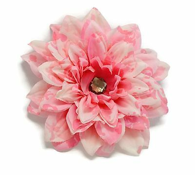 "Silk Flower Hair Clip 6"" Dahlia Pink Damask Grey Crystal Cen"