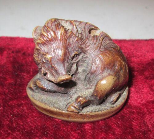 Antique Bronze Netsuke of Wild Boer Made in Japan Has signature
