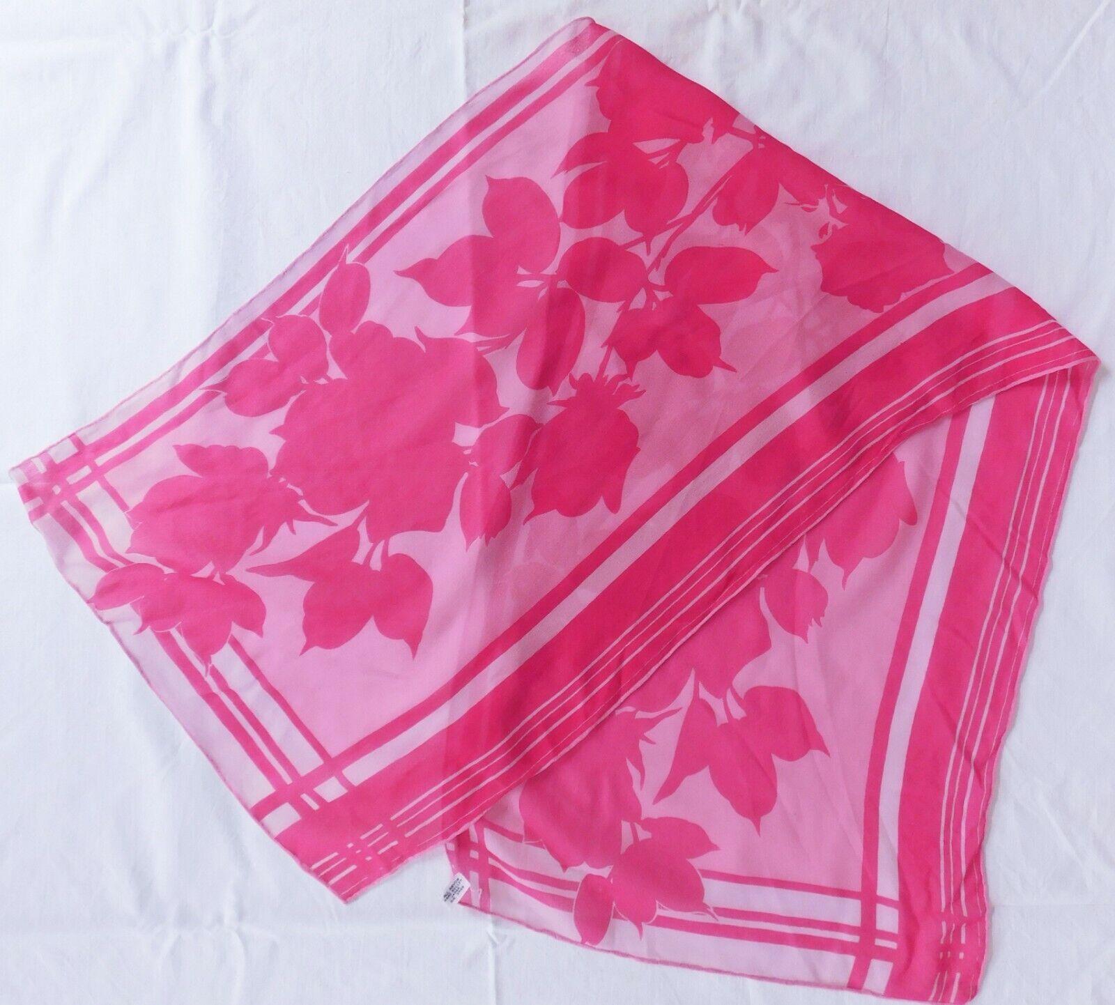 "Japanese floral crepe scarf hand rolled hem pink rayon vintage 41"" long x 13"" mj"