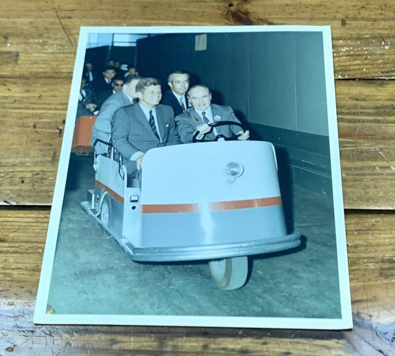 1960s JFK JOHN F. KENNEDY W/ JAMES S. MCDONNELL TOURING PLANT PHOTO NASA KODAK