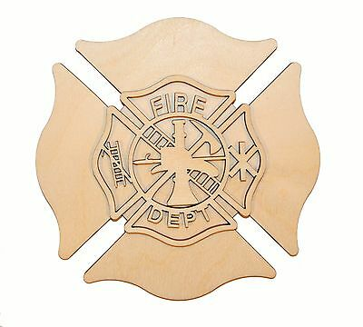 Fireman Maltese Cross Wood Cutout Unfinished Firefighter Wooden Crosses