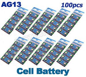 100 X AG13 LR44 SR44 L1154 357 A76 QUALITY ALKALINE BUTTON /COIN CELLS BATTERIES