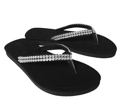 Girls Sparkly Bling Strap Sandal Flip Flop Thong Kids Shoe Sizes Black 12 - - Sparkly Kids Shoes