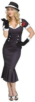 Ladies 1920s 20s Gangsters Moll Boss Mafia TV Film Fancy Dress Costume Outfit  - Mafia Boss Halloween Costume