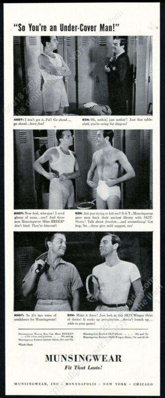 1940 Munsingwear underwear 2 men locker room photo Under Cover Man print ad