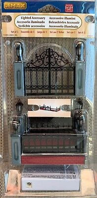 New Lemax Lighted Wrought Iron Fence Accessory 54303 Christmas Village ()
