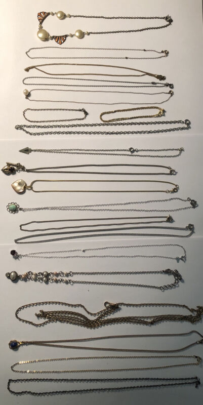 Vintage Lot Of 17 Chain Necklaces, 2 Bracelets, 1 Pocket Watch Fob