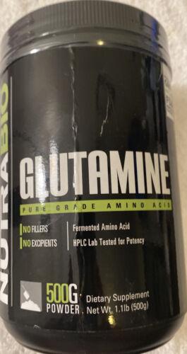 NutraBio 100% Pure L-Glutamine Powder - 500 Grams