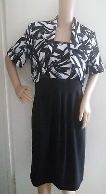 R&M Richards Ladies Black White 2 Piece Midi Dress Mother Of The Bride UK 12 for sale  Shipping to Ireland