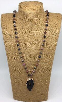Handmade Natural Jasper Beads Gold Chain Arrowhead Pendant Necklace Women Gift