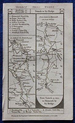 Original antique road map DEVON, MIDDLESEX, PLYMOUTH, LONDON, Paterson, 1785