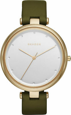 NEW AUTHENTIC SKAGEN TANJA GOLD OLIVE GREEN LEATHER WOMEN'S SKW2483 WATCH