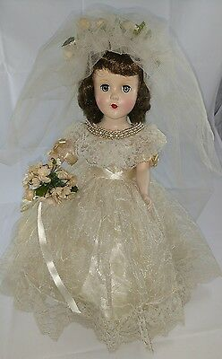 "Vintage hard plastic walker doll 15"" in Gorgeous Wedding Gown"