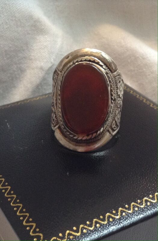 ANTIQUE CHINESE Straits Peranakan Large CARNELIAN  STERLING SILVER Ring  size 8