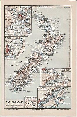 c.1899 NEW ZEALAND  Auckland Wellington Christchurch Dunedin Antique Map