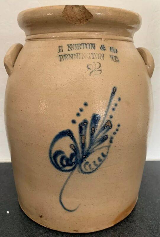 Antique E. NORTON & CO 2 Gal Stoneware Jug Crock W/ Lid Salt Glaze Blue Cobalt